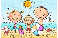 Happy kids at the seaside, doodle drawing, vector cartoon by Optimistic Kids Art (Katerina Davidenko illustration) Art Drawings For Kids, Doodle Drawings, Drawing For Kids, Cartoon Drawings, Hand Crafts For Kids, Art For Kids, Cartoon Familie, Beach Drawing, Graphic Illustration