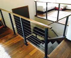 Surface mount cable railing posts and components. Surface mount cable railing posts and components. House, Interior, Home, Modern Stairs, Cable Railing, Staircase Railings, Interior Railings, Industrial Interiors, Stairs