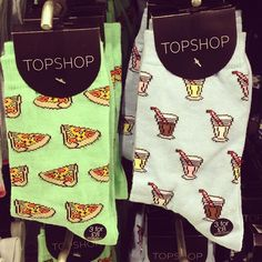Craving pizza or milkshakes? Or maybe both? #topshop #topshopoxfordcircus #milkshake #pizza #socks