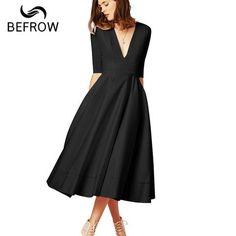 f34b07857f BEFORW Sexy V Neck White Women Dress Vestido Plus Size Fashion Solid Long  Dresses Vintage Elegant