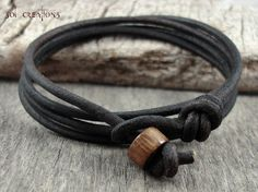 Mens Leather Bracelet Brown Cord Multi Wrap Cuff Surfer Surf Eco Handmade Sol 1 | eBay