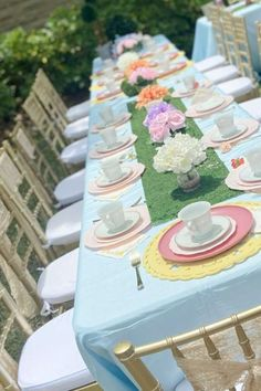 Take a look at this wonderful Alice in Wonderland 1st birthday party! The table settings is so pretty! See more party ideas and share yours at CatchMyParty.com Girls Birthday Party Themes, 1st Birthday Photos, Tea Party Birthday, Girl Birthday, Alice In Wonderland 1, For Your Party, Party Cakes, Table Settings, Party Ideas