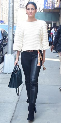 Big boxy sleeves ... a DIY sweater must-do. DIY with Threadhead TV. ~Look of the Day - Lily Aldridge  - from InStyle.com