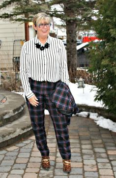 Target Plaid Suit, Forever 21 striped blouse and leopard boots from shoe dazzle