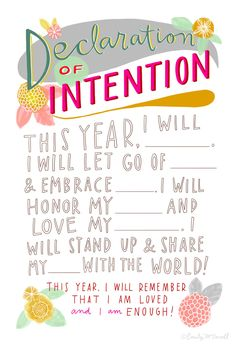 Declaration of Intention: New Year's Resolution Hand-Lettered
