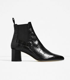 Zara Embossed Leather High-Heel Ankle Boots