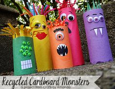 Give kids googly eyes, yarn and pipe cleaners and let their imaginations run wild! The perfect recycled kids craft for halloween.