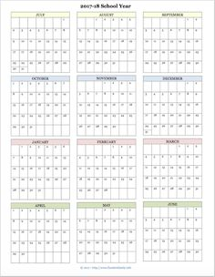 Free printable academic calendar for 2017-2018 school year