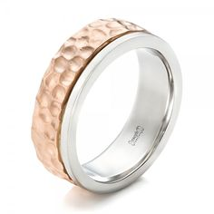Custom Hammered Two-Tone Men's Wedding Band #JosephJewelry