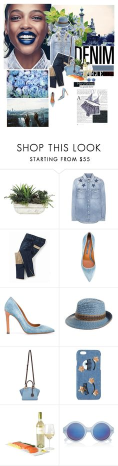"""All Denim, Head to Toe"" by cheroro ❤ liked on Polyvore featuring Lux-Art Silks, Givenchy, Ermanno Scervino, Eric Javits, Fendi, Chiara Ferragni, La Lingerie, Le Specs and Bee Charming"