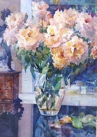 Flowers in a Glass Vase - by Geoffrey Wynne RI