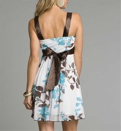 Blue, Brown, & White Dress | Follow me : @oliviabbradley for more lovely pins #pretty #fashion #ideas ✿. ☺