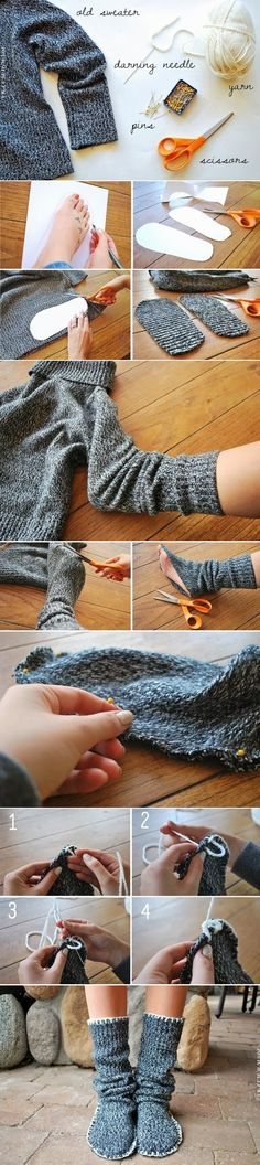 Simple DIY Slippers Trick With Tutorial Using Old Sweater Sewing Hacks, Sewing Crafts, Sewing Projects, Diy Crafts, Diy Projects, Sewing Tutorials, Sewing Ideas, Sewing Patterns, Diy Fashion