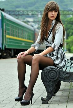 Great legs in black pantyhose