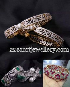 Jewellery Designs: Trendy Diamond Ruby Bangles
