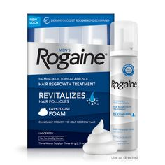 Rogaine for Men Hair Regrowth Treatment, 5% Minoxidil Topical Aerosol, Easy-to-Use Foam, 2.11 Ounce, 3 Month Supply (Packaging May Vary) :  For more information just go to http://amzn.to/1LxbmWp