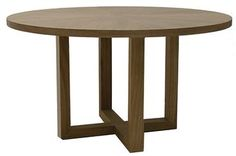 Trevor Round Wood Dining Table with Venner Wood Top in Driftwood Finish Also Available in Black Also Available: 54