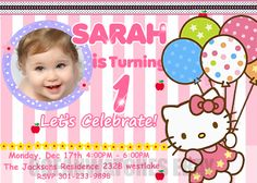 Hello Kitty Invitation #1 $8.99 Purchase at http://oceanwatchedesign.com. If you face any problems during ordering in the website, pls contact us at sirse@yahoo.com