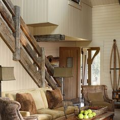 10 Rustic Home Decorations. You would Love Top 10 Rustic Home Decorations. You would Love I love the stair railing!Top 10 Rustic Home Decorations. You would Love I love the stair railing! Barn Living, House Design, Room Design, House, Rustic Stairs, Home, New Homes, Living Room Decor Rustic, Rustic House