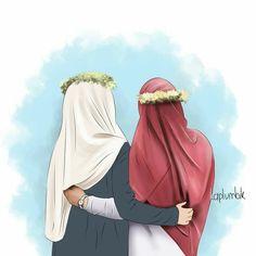 Best Friend Sketches, Friends Sketch, Best Friend Drawings, Best Friends Cartoon, Friend Cartoon, Friend Anime, Hijab Drawing, Islamic Cartoon, Anime Muslim