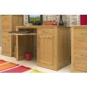 Mobel Oak Single Pedestal Computer Desk - Online Furniture World Shop