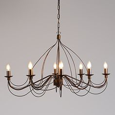 QAZQA Classic / Antique / Country / Rustic / Chandelier Zero Branco 8 Antique Oval / Other / Suitable for LED E14 Max. 8 x 40: Amazon.co.uk: Lighting