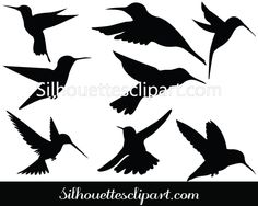Humming bird Silhouette Clip Art Pack Template - Silhouette Clip Art