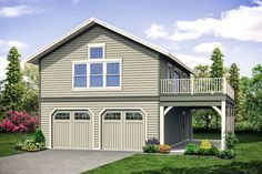 garage plans This carriage house plan - a garage plan with living above - gives you all kinds of possibilities. The first floor has a standard, garage, with double-garage doors and a 9 Two Story Garage, 2 Car Garage Plans, Garage Plans With Loft, Garage Apartment Plans, Garage Apartments, Garage Ideas, Door Ideas, Above Garage Apartment, Carriage House Plans