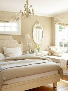 Romantic bedroom designed in neutral colors