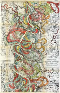 Alluvial Valley of the Lower Mississippi River - Floodplain maps, 1944 ,  made by Harold Fisk. This old cartography maps  the alluvial valley of the lower Mississippi River, and the ribbons of colour are the banks of the river at various times in history.