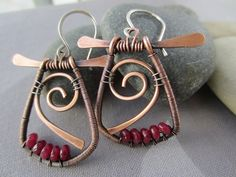 Copper Wire Earrings with. Ruby Red Jade/ Copper Dangles/ Artisan Earrings/ Wire Earrings