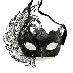 Black Masquerade Mask - Luxury Venetian Filigree Black Swan Laser Cut Metal Masquerade Ball Mask on Etsy, $64.95