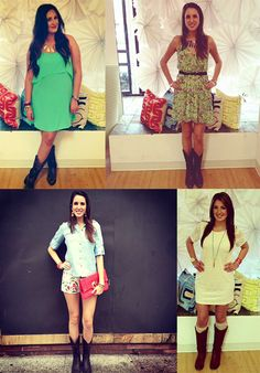 Here are some great ideas for wearing cowboy boots with shorts or a dress. @Jenny Ruml for you :)