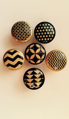 1.5 inch black and gold geometric chevron circle cabinet knobs drawer pulls by HolyChicBoutiqueCo on Etsy