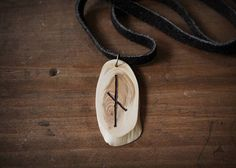 NAUTHIZ Rune necklace  Wooden rune necklace  Juniper pendant