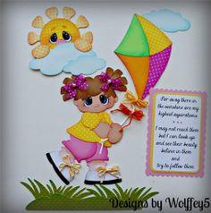 ELITE4U Girl Kite Paper Piecing Premade Scrapbook Page Album Border WOLFFEY5   eBay using Treasure Box Designs