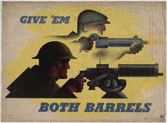 """Give 'em Both Barrels 1941 Técnica: Litografia Offset Dimensão: 30 x 40"""" (76.1 x 101.5 cm)"""