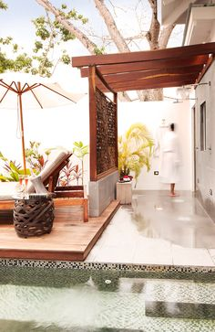 Outdoor Shower in Your Private Villa at Ka'ana http://www.kaanabelize.com/blog/index.php/2014/11/14/take-a-peek-inside-our-1-bedroom-private-pool-villa/ #xoBelize