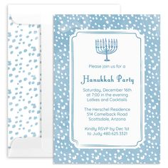 Dotted Border Hanukkah Invitations