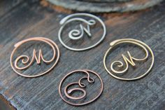 Personalized cursive letter copper brass or by Keepandcherish gifts Personalized cursive letter copper, brass or German silver bookmark, monogram, metal bookmark Wire Jewelry Designs, Handmade Wire Jewelry, Wire Wrapped Jewelry, Sea Glass Jewelry, Metal Jewelry, Bullet Jewelry, Geek Jewelry, Jewellery, Gothic Jewelry