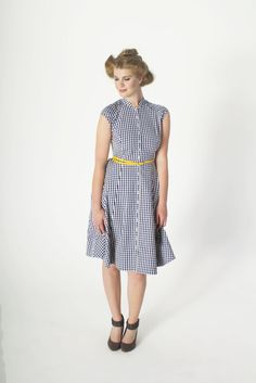 Blue Gingham Organic Cotton Dress - Ethical Fashion - brm - 50s style prom dress with pleated yoke