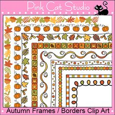 Autumn or Fall Theme Frames / Borders Clip Art by Pink Cat Studio