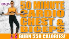 50 Minute HIIT Cardio Chest and Biceps Workout 🔥Burn 550 Calories! 🔥Sydney Cummings - YouTube