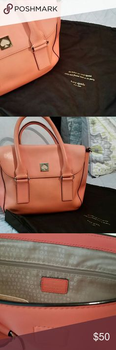 Kate Spade Purse Kate Spade Coral Purse with Gold Plating/ Longer Strap Included (Never Used)/ Magnetic Closure/ Tan Interior/ Used- Fair Condition, Some Slight Patches of Discoloration due to Sun Exposure. kate spade Bags Totes