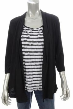 38e5ac8899094f Elementz Black & White Striped 2 In 1 Cardigan 3/4 Sleeve Blouse Sz L