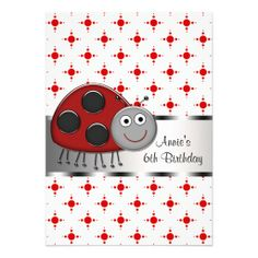 Red Ladybug Girls 6th Birthday Party Custom Invitation Invitations