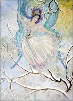 The Snow Fairy - Painting by Eric Kincaid Fairy Land, Fairy Tales, Fairy Dust, Troll, Unicorn And Fairies, Fairy Paintings, Snow Fairy, Original Paintings For Sale, Beautiful Fairies