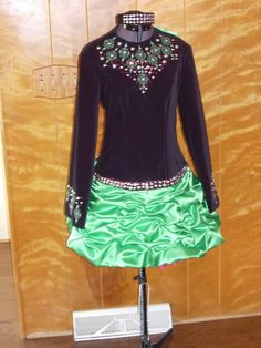 this irish step dancing dress was made by my friends mom. is really a more modern style