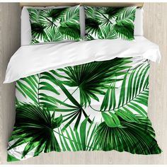 Buy Ambesonne Palm Leaf Duvet Cover Set Queen Size, Realistic Vivid Leaves of Palm Tree Growth Ecology Lush Botany Themed Print, Decorative 3 Piece Bedding Set with 2 Pillow Shams, Fern Green White Tropical Quilts, Tropical Bedding, Coastal Bedding, Tropical Bedroom Decor, Tropical Bedrooms, Bed Duvet Covers, Duvet Cover Sets, Tree Quilt, Bed Linen Sets