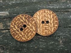 """Two 1 1/2""""  Bamboo Knitting Buttons"""